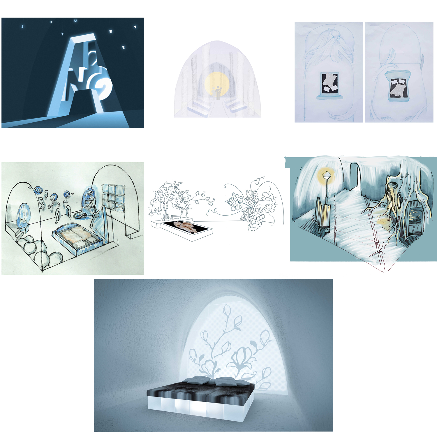 collage of art suite sketches in Icehotel