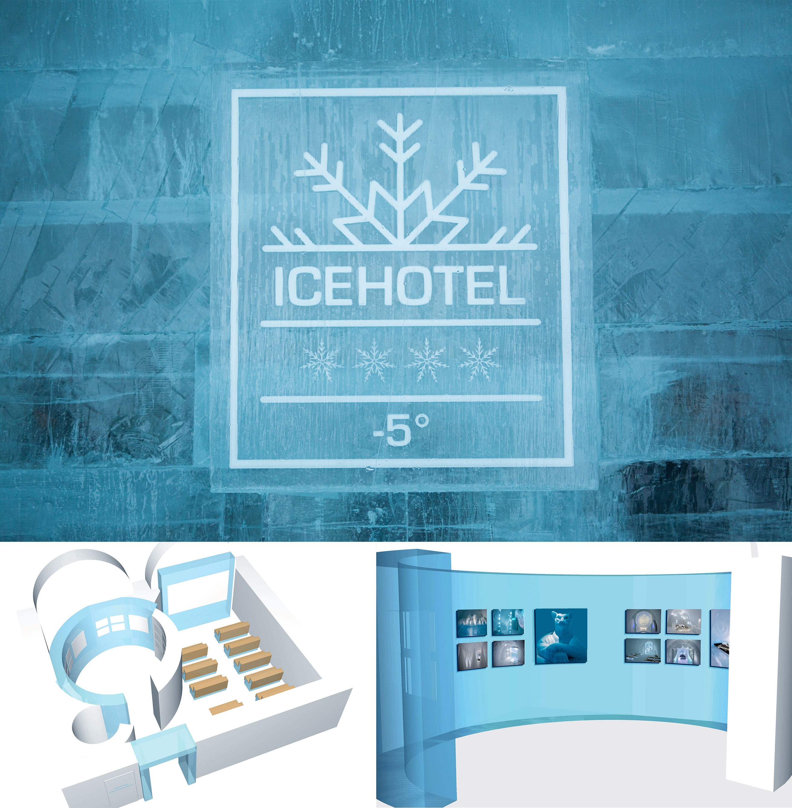 Illustrations of new experience room at Icehotel