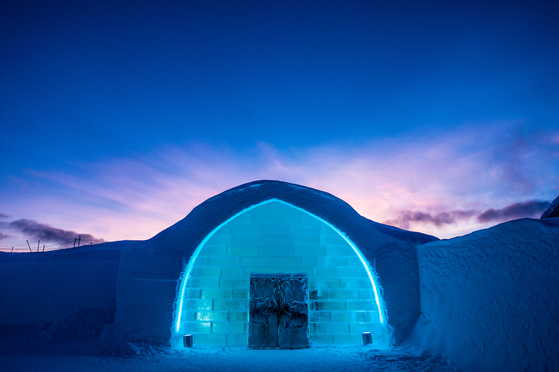 Icehotel entrance of the ice hotel blue twilight