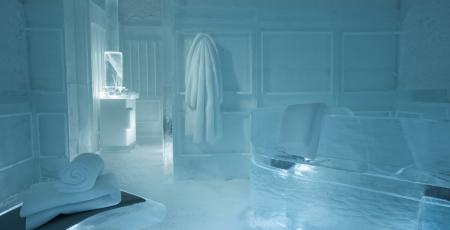 interior of sauna made of ice inside Icehotel
