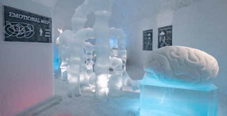 ice art of human brain inside Icehotel