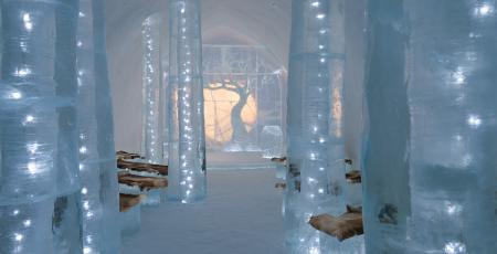 pillars and trees of ice in ceremony hall inside Icehotel
